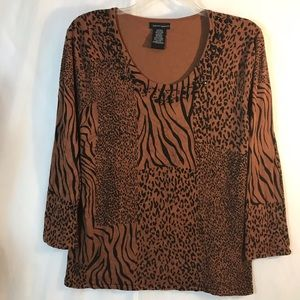 Sweaters - LH Sport Brown and Black Animal Print Sweater